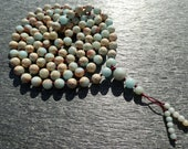 Impression Jasper Hand Knotted Mala (108 and Guru), Necklace, Bracelet with 8-mm Beads and a Beaded Tassel 0796