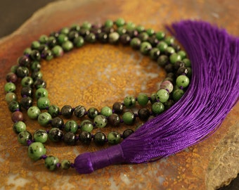 Sandalwood Ruby in Zoasite ammonite and yellow jade hand knotted mala