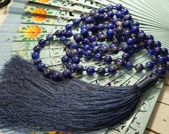 Lapis Lazuli Mala • AAA* (Highest Quality) • Hand-Knotted Mala • 8mm Mala • Beads for Communication • Yoga Jewelry • Lapis Mala • 3059