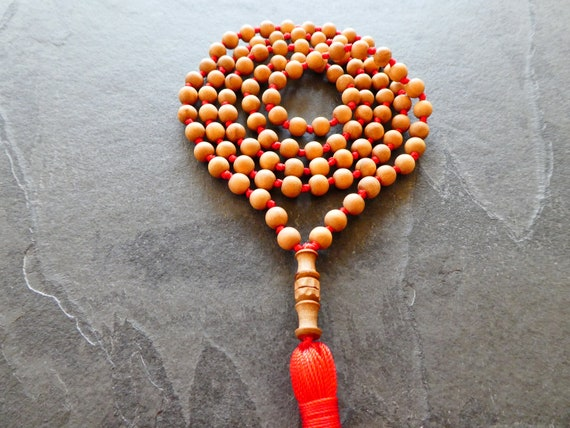 Amazing Smell~ Sandalwood Beads 8-9mm 108 bead strand Mysore India direct from Mysore Authentic Not Soaked in oil