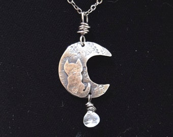 Cat on Crescent Moon with Moonstone Pendant