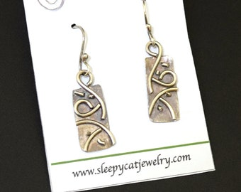 Argentium Silver Swirls  Layered  on Metal Earrings