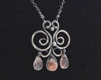 Sterling Silver Spiral and Loop Necklace with Sunstones