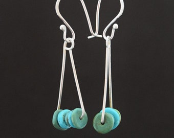 Argentium Silver and Turquoise Earrings