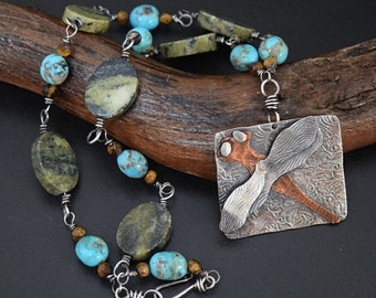 Dragonfly Necklace with Turquoise, Serpentine and Tiger Mixed Metal with Sterling Silver and Copper