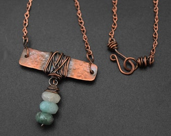 Copper Necklace with Ocean Colors Quartz Wire Wrapped Metal