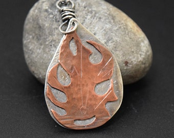 Flame Pendant Mixed Metal on Sterling Silver Chain