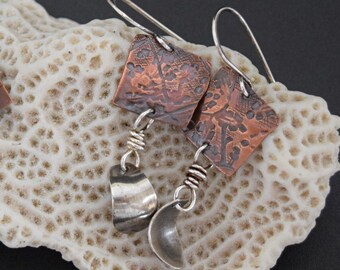 Mixed Metal Earrings Textured Copper Squares with Curved Sterling Silver
