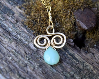Mint Chalcedony and 14K Goldfill Wirewrapped Pendant with spirals