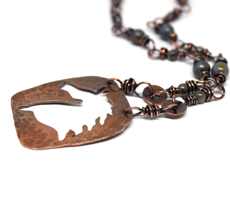Copper Horse Necklace with Colorful Stone Bead Wirewrapped Chain