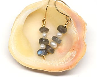 Labradorite and Freshwater Pearl 14K Goldfill Earrings