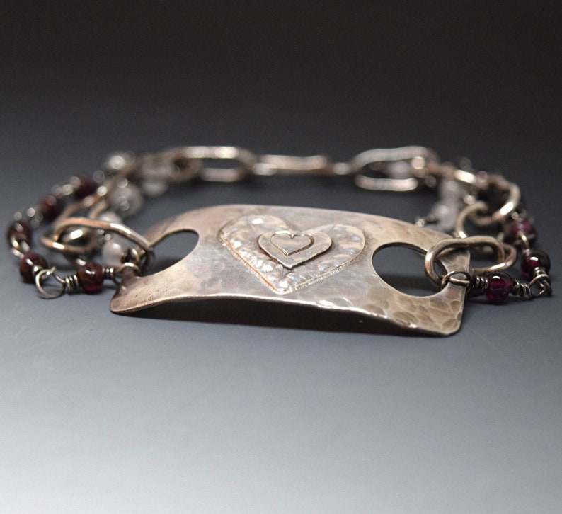 Silver Heart Bracelet with Rose Quartz and Garnet Triple Strand Handcrafted for Your Valentine