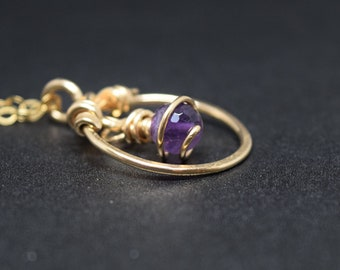 14K Goldfill and Amethyst Circle Pendant