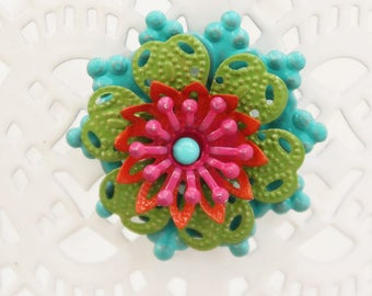 Turquoise, Lime, Orange and Pink Layered Flower Magnet - F41
