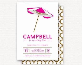 Invitation: Beach Umbrella Pink