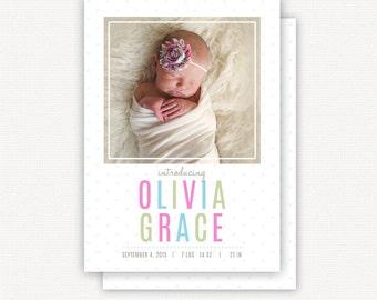 Birth Announcement: Multicolor Classic