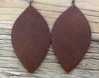 Large Leather Leaf Earrings