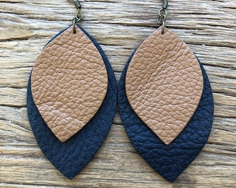 Medium Leather Leaf Earrings