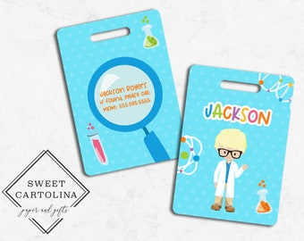Scientist |Science Lab Custom Bag Tag Kids Backpack Tag Personalized BagLuggage Tag Travel Accessory Luggage Tag Diaper Bag Tag