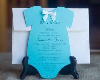 a459ec2eb Shimmery Baby & Co. Baby Shower Invitation - Jewelry Box Inspired -  Embellished with REAL Rhinestone and Bow - Set of 20