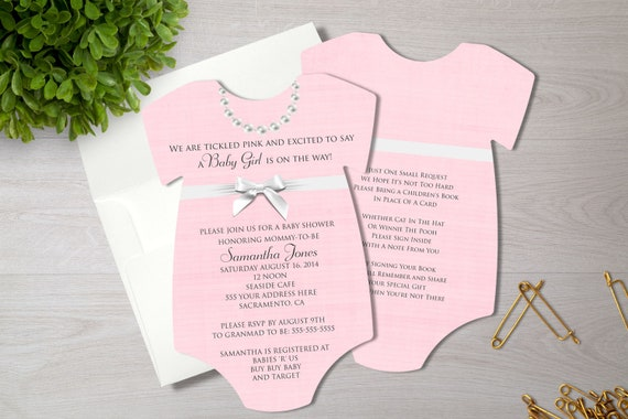 Pink Pearls Baby Shower Invitation   Baby Girl Shower Invite   Ribbons and Pearls Shower   Printed Invitation   Baby Bodysuit   Necklace