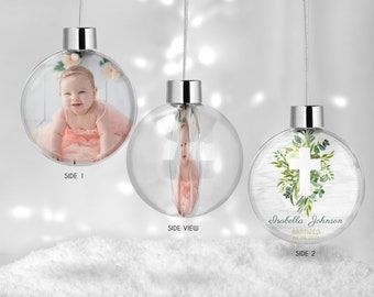 First Communion Gift, Photo Ornament, First Communion Ornament, Keepsake Gift, Personalized Communion Gift, Baptism Globe Ornament, Cross
