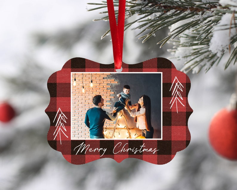 Personalized Photo Ornament Christmas Ornament Custom Ornament Christmas Gift Holiday Gift Red Buffalo Plaid Photo Ornament