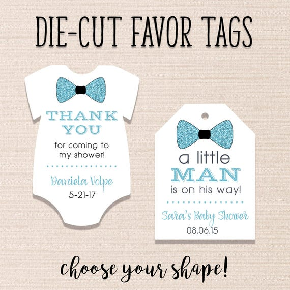 Baby Shower Favor Tags Little Man Shower Tags Die Cut Etsy