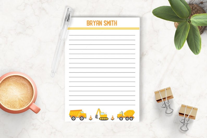 Kids Personalized Notepad Writing Pad Construction Notepad Custom Notepad Gift for Kids Carpenter Notepad Personalized Stationery