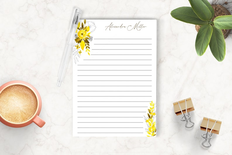 Custom Notepad Whimsical Floral Notepad Writing Pad Yellow Flowers Gift for Her Personalized Notepad Personalized Stationery