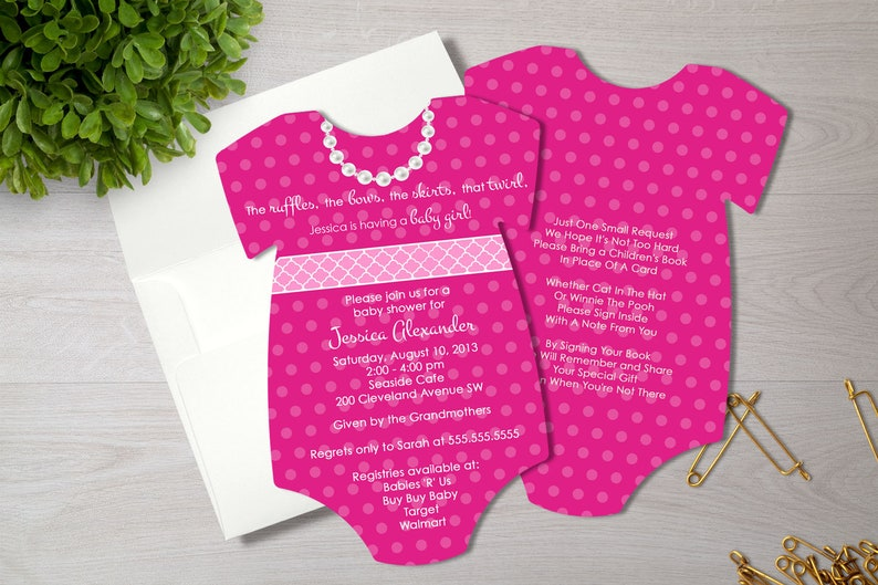 ee0ebacef Hot Pink Baby Shower Invitation Baby Girl Shower Invite | Etsy