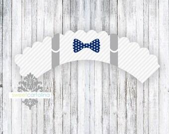 Baby Shower Cupcake Wrappers | Baby Shower Decor | Baby Boy Shower | Bow Tie Baby Shower | Little Gentleman Baby Shower