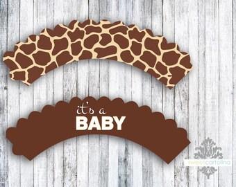 Baby Shower Cupcake Wrappers | Baby Shower Decor | Gender Neutral Shower | Giraffe Baby Shower | Zoo Animal Baby Shower