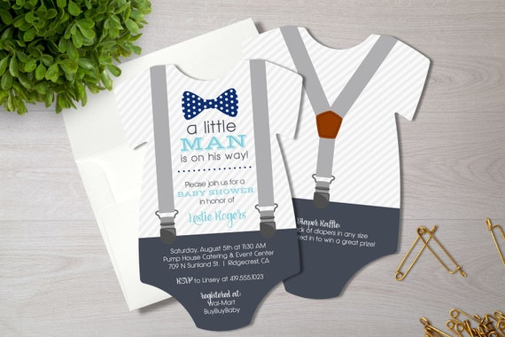 Little Man Baby Shower Invitation Bow Tie And Suspenders Etsy