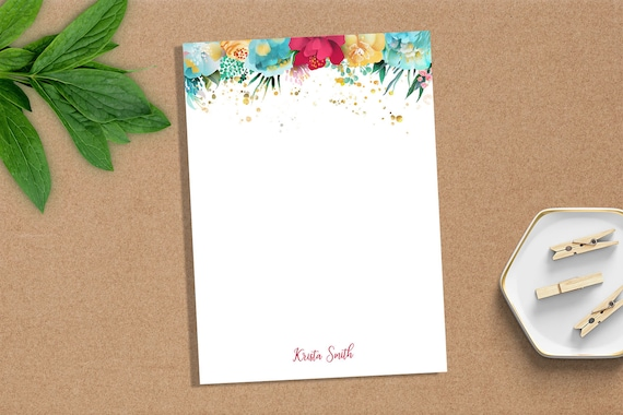 Personalized Notepad Custom Notepad Personalized Stationery Writing Pad Gift For Her Gold Accent Colorful Mess Notepad