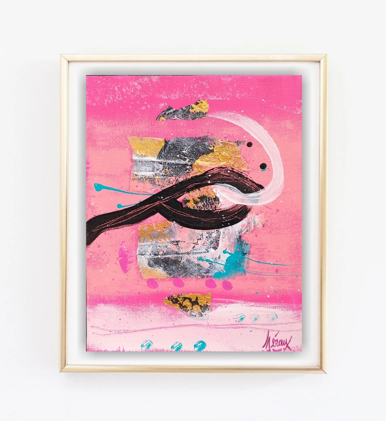 Vibrant pink art \u2022 small original artwork \u2022 small bold abstract painting on canvas \u2022 Title AN AWAKENING