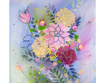 Original flower painting, abstract flower Art, blue Violet, nature art on canvas, original, 16x20 inch canvas Original