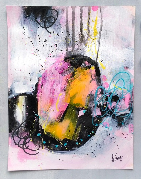 Original Art Colorful Modern Abstract Art 11x14 Original Abstract Painting on Paper