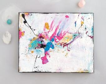 Original Art on canvas, canvas decor, pink white art, magical artwork, colorful painting, wall Decor, fuchsia artwork, 8x10