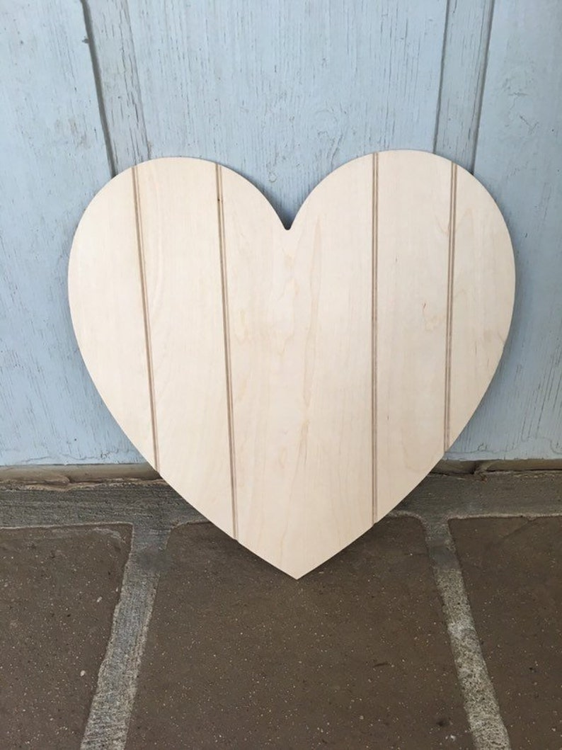 """Lot of 6 Large 4 3//4/"""" Unfinished Wood Heart Cutouts"""