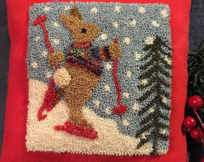 Primitive Punchneedle Embroidery Pattern Bunny Hill