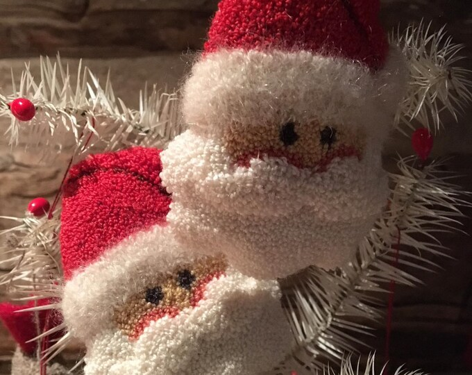 Primitive Punchneedle Embroidery Pattern Santa Face