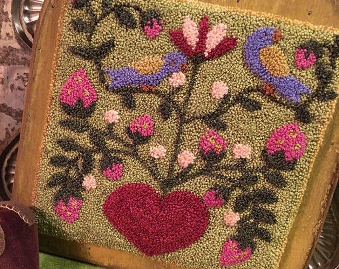 Primitive Punchneedle Embroidery Pattern Birds n Berries