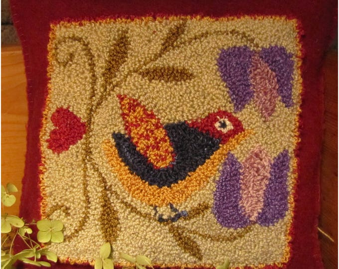 Primitive Punchneedle Pattern Spring Songbird