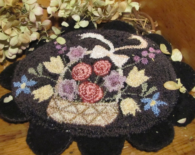 Primitive Punchneedle Embroidery Pattern Spring Blossoms
