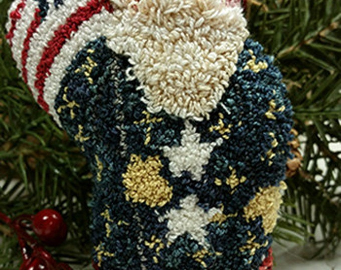 Primitive Punch Needle Stars & Stripes Santa Pattern