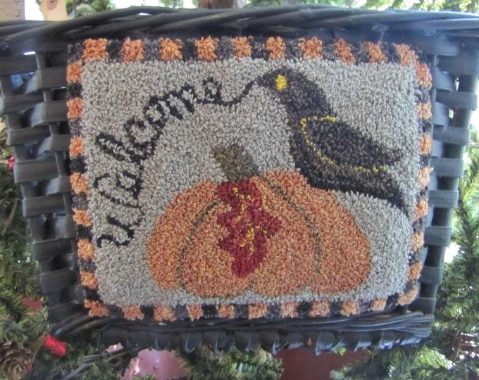 Primitive Punchneedle Welcome Crow  Basket