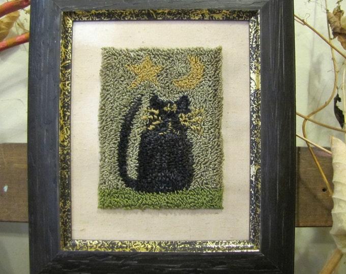 Primitive Punchneedle Patteren Who Let the Cat Out
