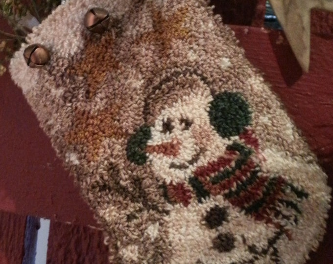 Primitive Punchneedle Pattern Baby It's Cold Outside Christmas Stocking