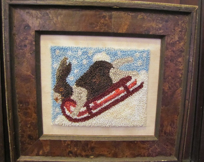Primitive Punchneedle Embroidery  Pattern Rabbit & the Red Sled